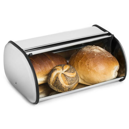 Greenco High Quality Stainless Steel Bread Bin Storage Box, Roll up Lid (Stainless steel)