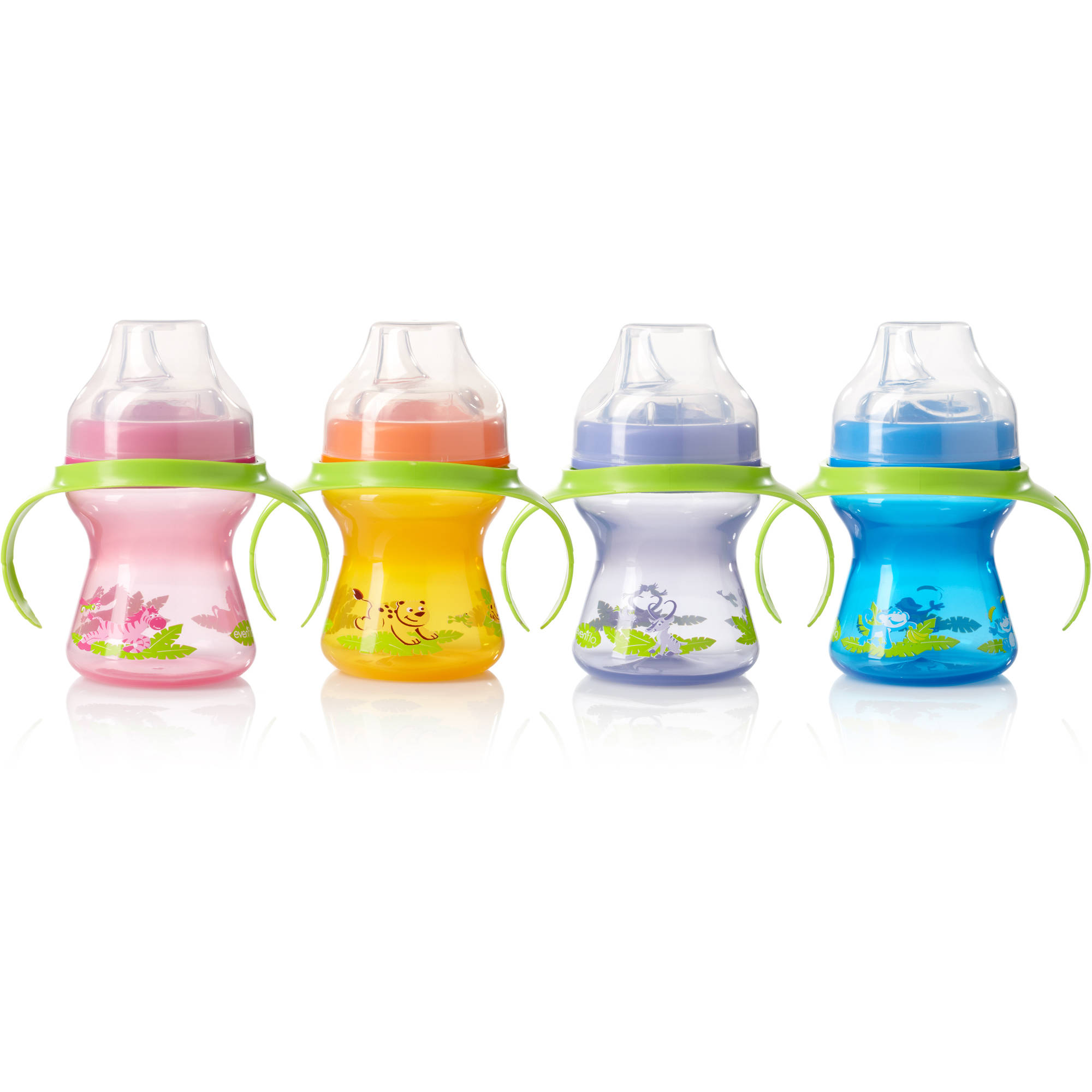 Evenflo Zoo Friends Trainer Cup, 4-Pack, BPA-Free