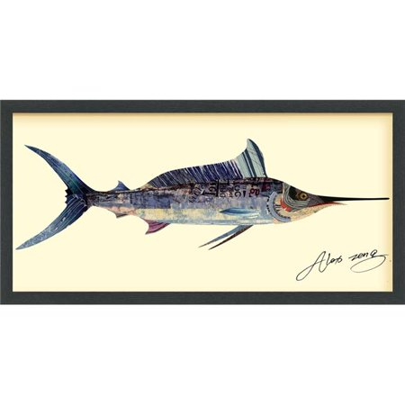 Blue Marlin - Dimensional Art Collage Hand Signed by Alex Zeng Framed Graphic Wall Art