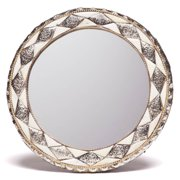 Moroccan Buzz 11-Inch Round Hand-Carved Bone Moroccan Mirror  , Handmade in Morocco