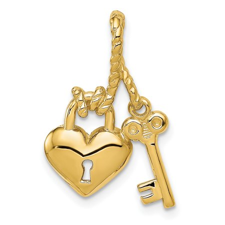 14kt Yellow Gold Heart Key Slide Necklace Pendant Charm Chain Fine Jewelry Ideal Gifts For Women Gift Set From covid 19 (Heart Slide Locket coronavirus)