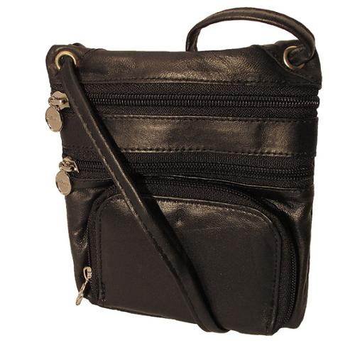 CONTINENTAL LEATHER  Travelers Side Pouch and Multi-pocket Neck ID Holder