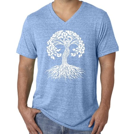 - Mens White Celtic Tree of Life Yoga V-neck Tee - Aqua, Small
