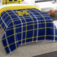 2pc NCAA Michigan Wolverines Comforter and Sham Set Collegiate Plaid Logo Bedding
