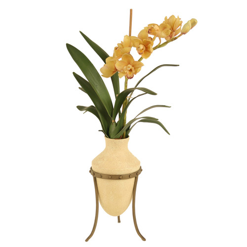 Distinctive Designs Champagne Cymbidium Orchids in Etruscan Vase and Metal Stand