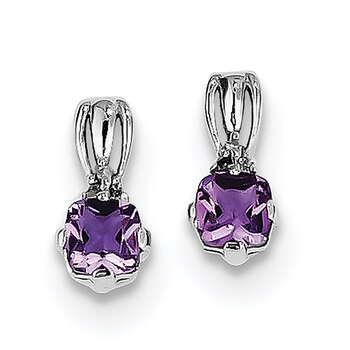 Lex /& Lu Sterling Silver w//Rhodium Diamond /& Amethyst Square Post Earrings