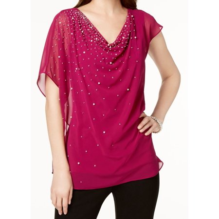 MSK NEW Fuschia Pink Womens Size Large L Embellished Draped Blouse