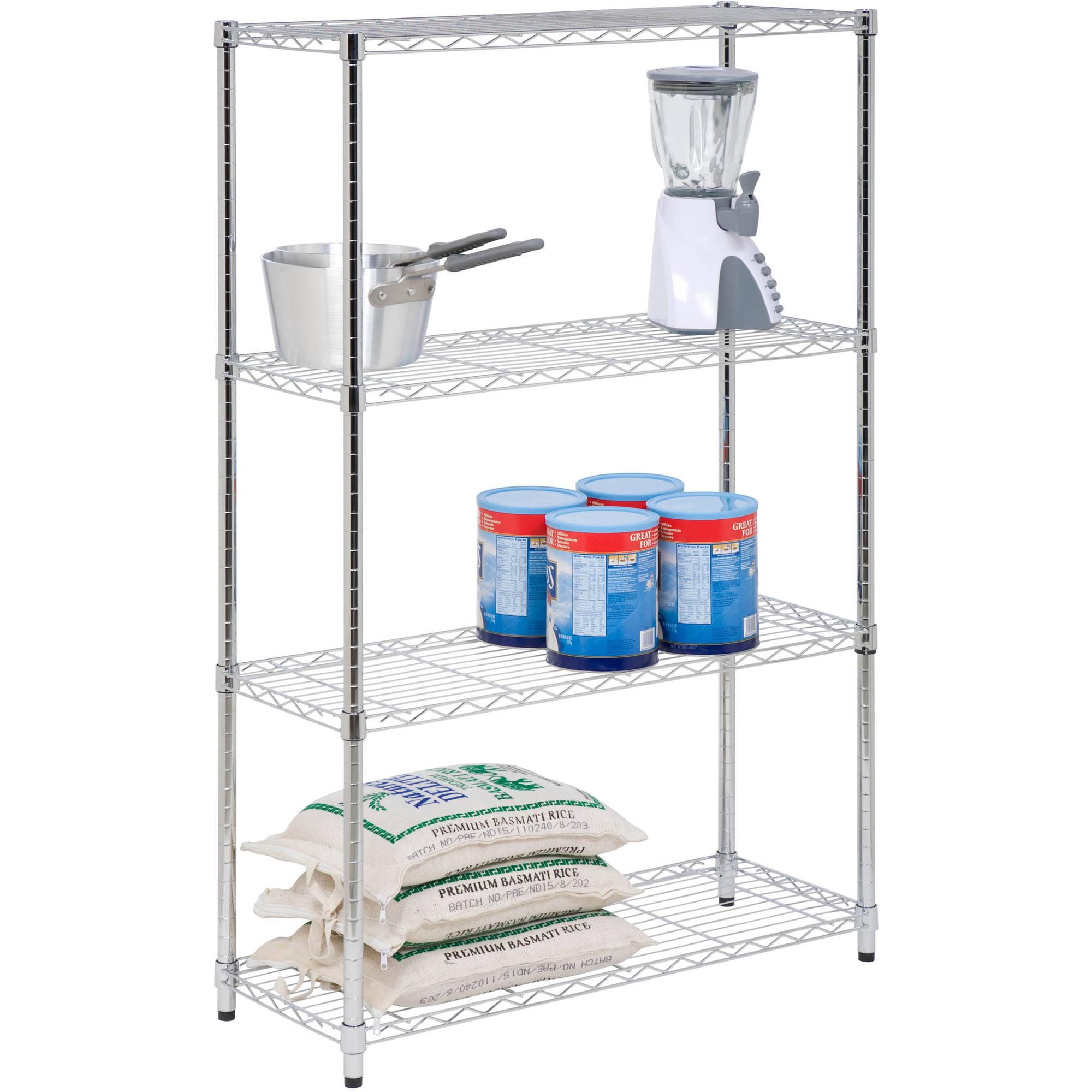 Honey Can Do 4-Shelf Steel Storage Shelving Unit, Chrome - Walmart.com
