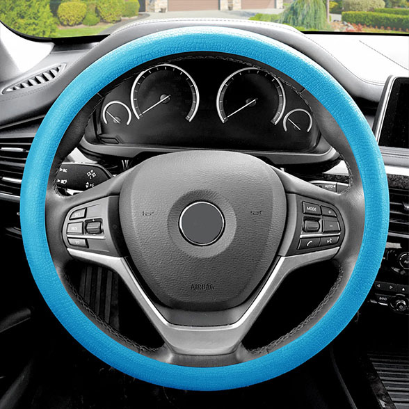 FH Group Universal Fit Odorless Snake Pattern Silicone Steering Wheel Cover, Light Blue