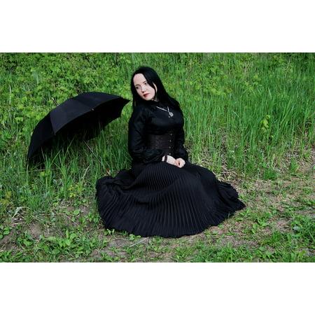LAMINATED POSTER Woman Goth Female Rain Model Girl Umbrella Stock Poster Print 24 x 36