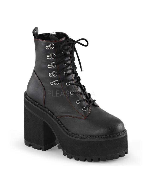 ASST100 BVL Blk Vegan Leather Demonia Vegan Boots Womens Size: 7 by