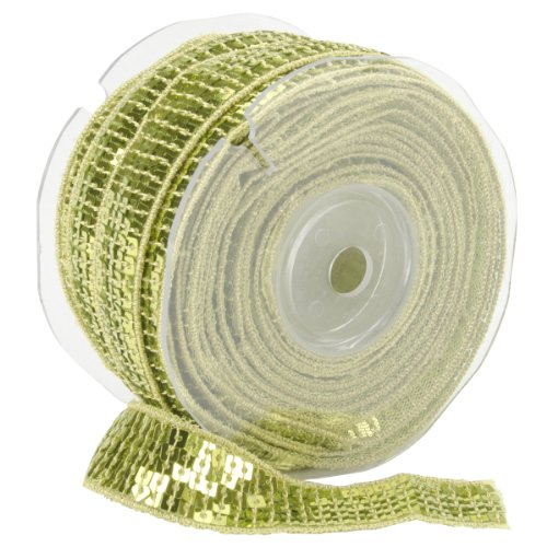 Square Sequin Trim 22mm X 15.95 Yards-Lime Green Multi-Colored