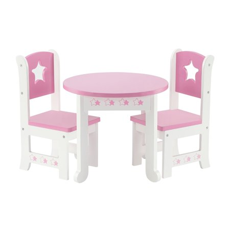 18 Inch Doll Furniture Lovely Pink And White Table And 2 Chair