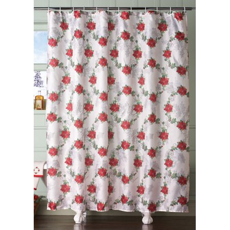 Poinsettia Holiday Bathroom Shower Curtain, Featuring a stunning ...