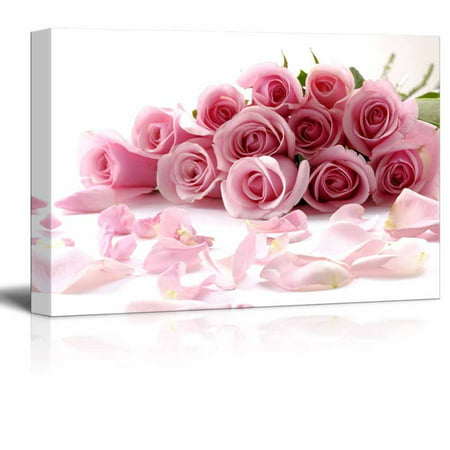 Rose Canvas Wall - Canvas Prints Wall Art - Bouquet of Beautiful Pink Rose Flowers with Petals   Modern Wall Decor/Home Decor Stretched Gallery Wraps Giclee Print & Wood Framed. Ready to Hang - 16