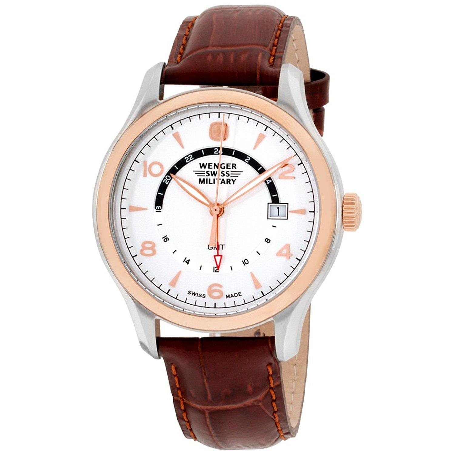 Wenger Women's 43mm Brown Leather Band Steel Case Sapphir...
