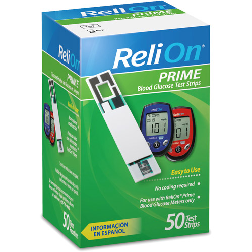 ReliOn Prime Blood Glucose Test Strips, 50ct