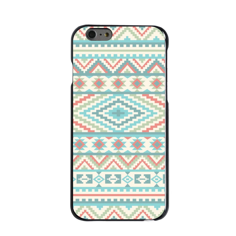 """CUSTOM Black Hard Plastic Snap-On Case for Apple iPhone 6 / 6S (4.7"""" Screen) - Blue Orange White Tribal Print"""