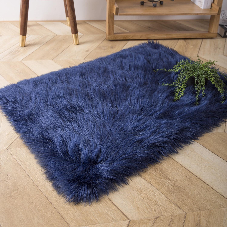 Deluxe Soft Faux Sheepskin Fur Series Decorative Indoor Area Rug 2 X 3 Feet Rectangle Navy Blue 1 Pack Walmart Com Walmart Com