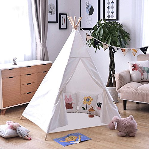Kids Tent Indoor 6? Teepee Tent for Kids with 5 Wooden Poles and Carry Bag Portable Canvas Tent by