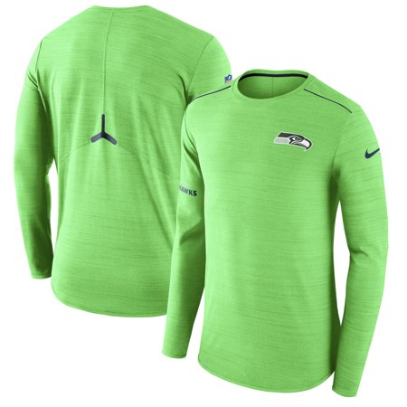 Seattle Seahawks Nike Sideline Player Long Sleeve Performance T-Shirt - Neon Green