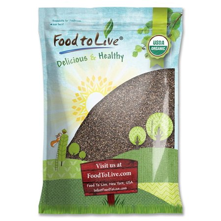 Organic Chia Seeds, 5 Pounds — Black, Vegan, Kosher, Non-GMO, Great for Smoothies – by Food to