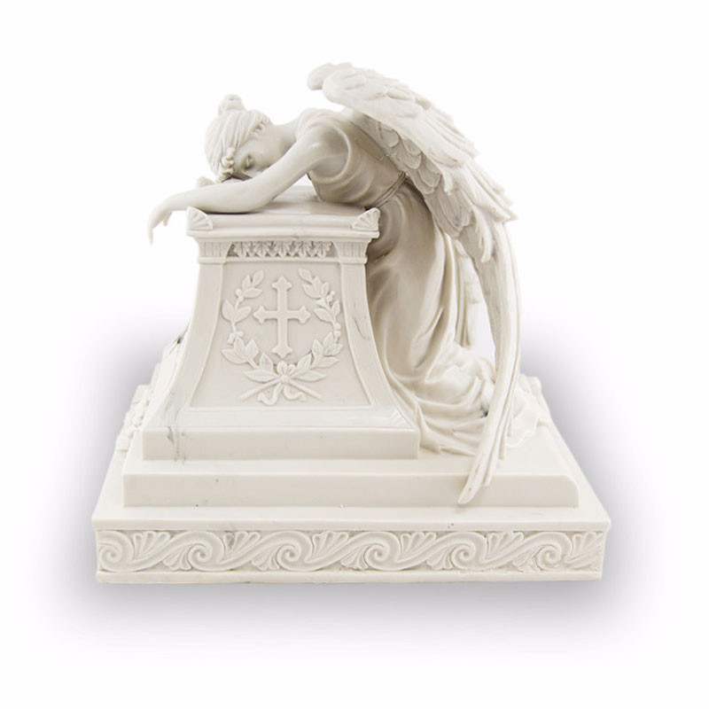 Polyresin Memorial Urn For Adults - Extra Large 215 Pounds - Marble White Angelo Triste - Engraving Sold Separately