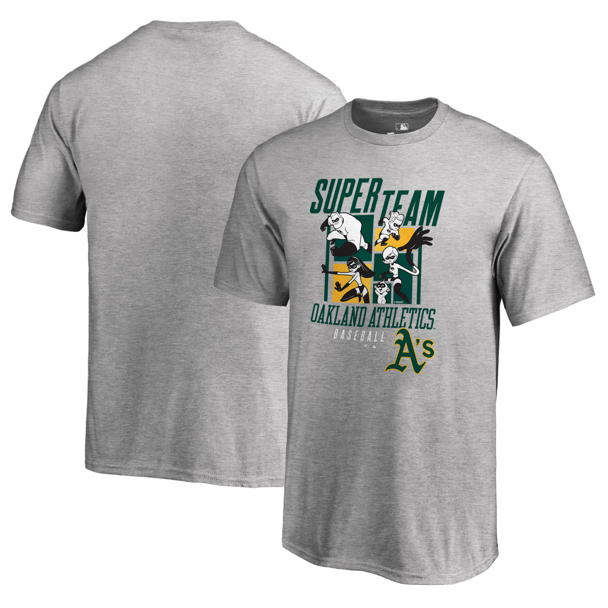 Oakland Athletics Fanatics Branded Youth Disney Pixar Incredibles Super Team T-Shirt - Heathered Gray