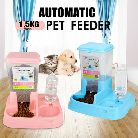 2 in 1 Large Capacity 3.3LB Leak Free Pet Cat Dog Automatic Food + Water Drinker Dispenser Feeder Fountain Container Dish Bowl Bottle Anti-Spill Non Slip No Spill Dog Bowl