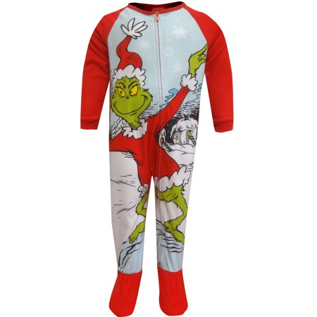 Dr Seuss Grinch Fleece Sleeper Toddler Footie Pajamas (Grinch Halloween Night)