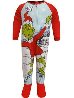 The Grinch Boys' Dr Seuss Grinch Fleece Sleeper Toddler Footie Pajamas (3T)