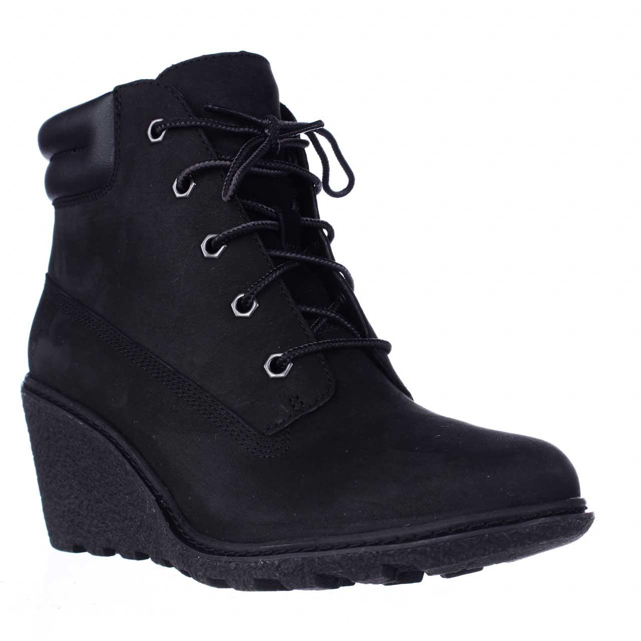 Womens Timberland Earthkeepers Amston Wedge Ankle Boots Black by Timberland