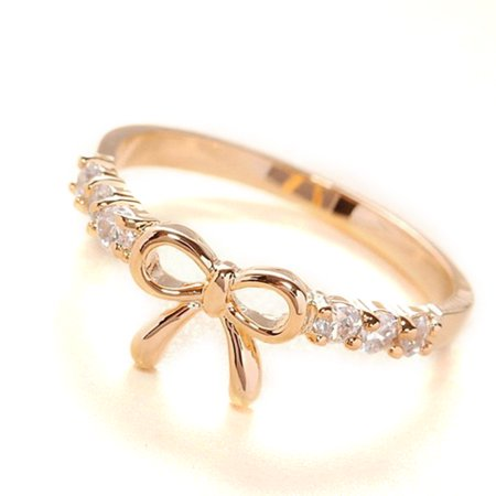 Bowknot Design Women Girl Rhinestone Ring with Micro Paved Bow Tie for Party Dating](Bow Tie Ring)