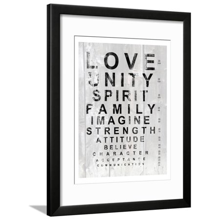 Eye Chart I Love Unity Inspirational Motivational Framed Print Wall Art By Andrea James (Eye Love Print)