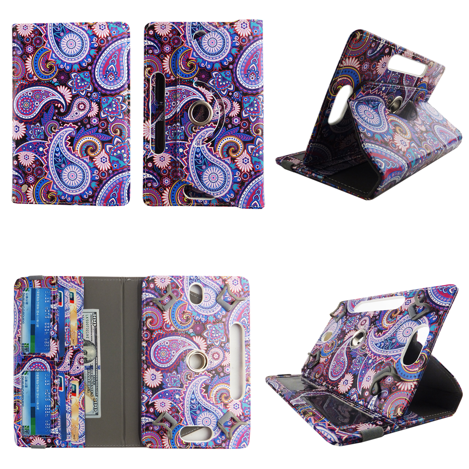 "Purple Paisley tablet case 7 inch for Asus Nexus 7"" 7inch android tablet cases 360 rotating slim folio stand protector pu leather cover travel e-reader cash slots"