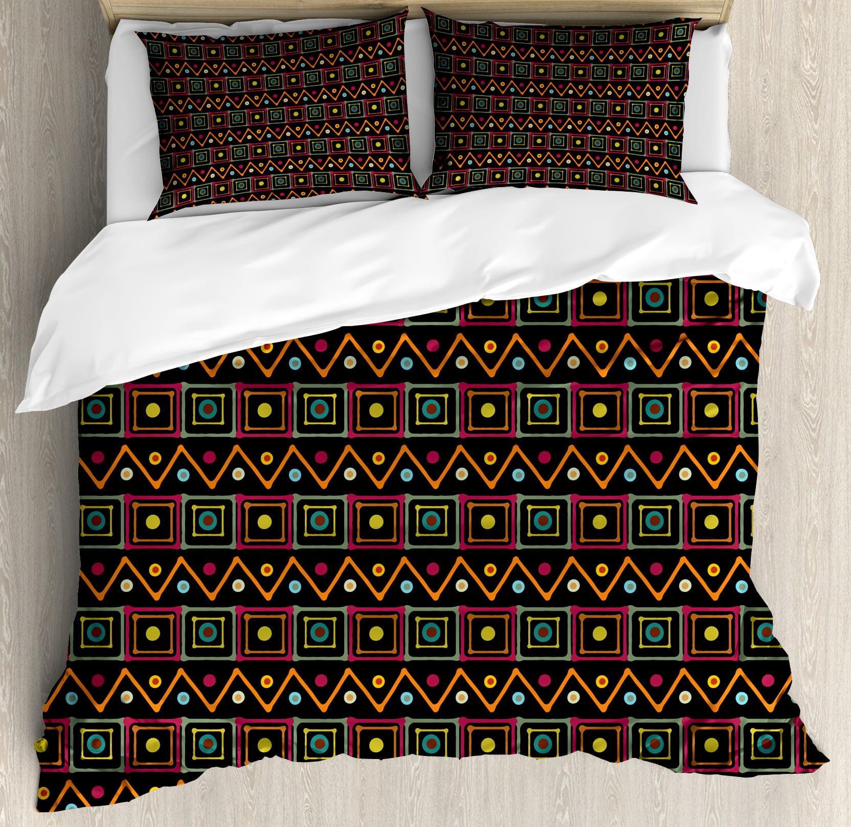 African King Size Duvet Cover Set Tribal Geometric Pattern Squares