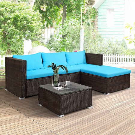 Wicker Patio Sets, 2 Rattan Wicker Chairs with Glass Dining Table, 3 Piece Outdoor Patio Dining Set Patio Sofa Set with Removable Cushions for Backyard, Porch, Garden, Poolside, L2206