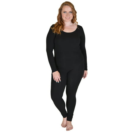 Plus Size Cotton Long Sleeve Unitard - X-Large (12-14) / Black - Black Cotton Unitard