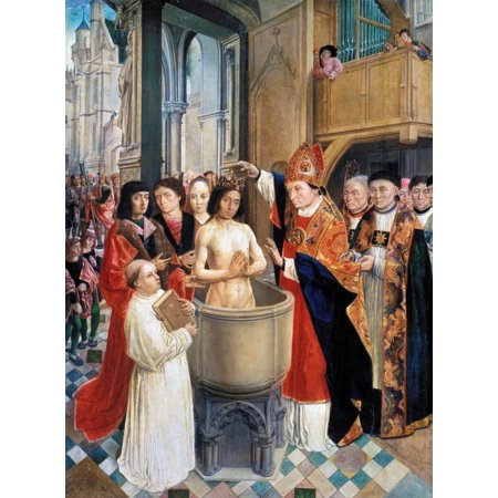 Clovis I (C466-511) Nbaptism Of Clovis I In 496 AD Oil On Wood C1500 By Master Of Saint Gilles Rolled Canvas Art -  (24 x 36)