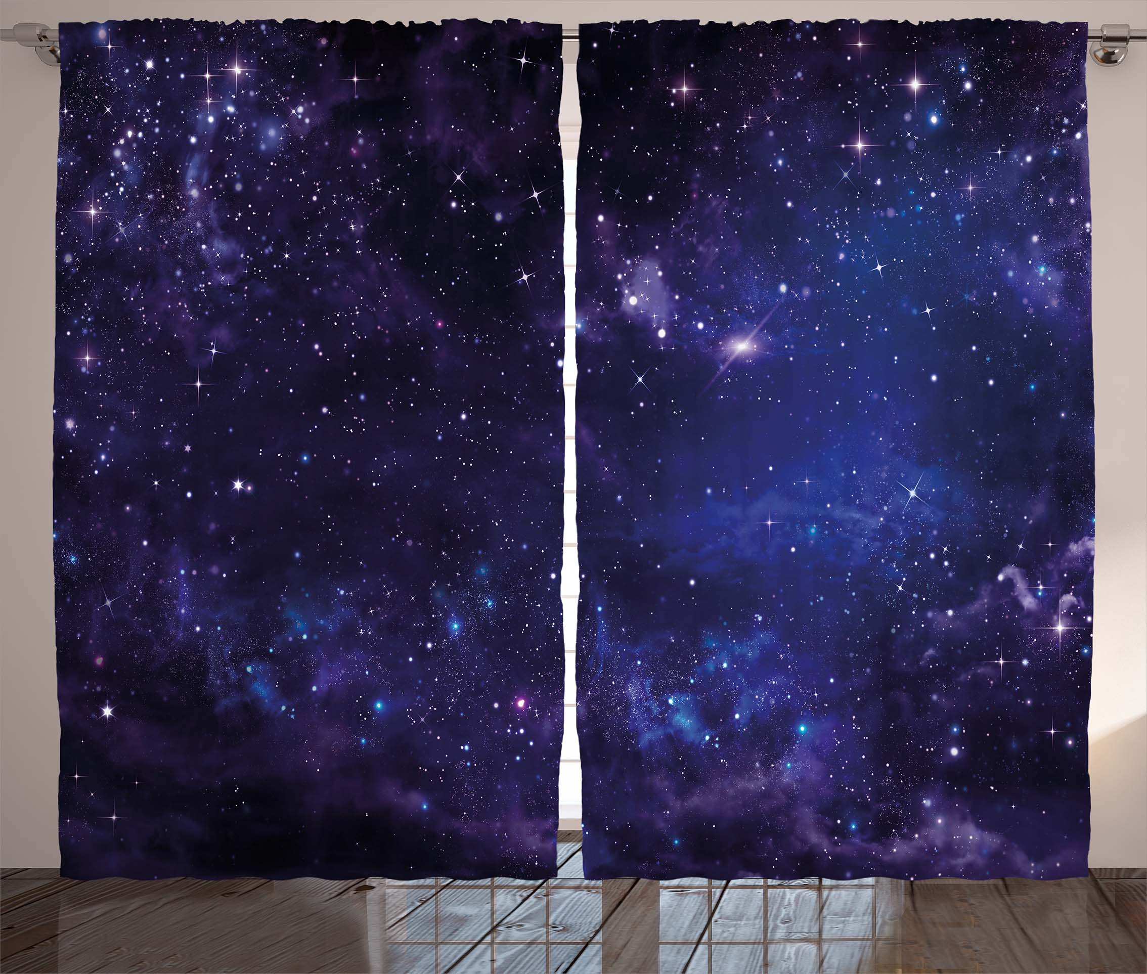 Galaxy Curtains 2 Panels Set Celestial Stars In Night Sky Rhwalmart: Galaxy Drapes For Bedroom At Home Improvement Advice