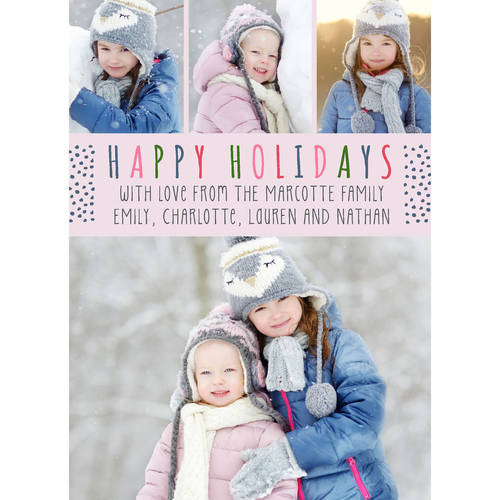Colorful Holiday - 5x7 Personalized Happy Holiday Card