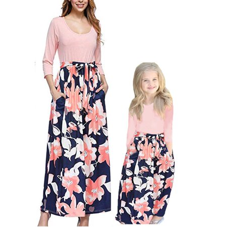 Parent-Child Dress Family Clothes Outfits Mommy Me Matching Floral Maxi Boho Beach Dresses (Maxi Outfit)