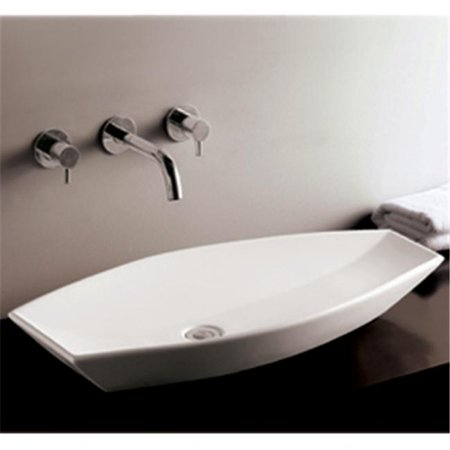 31 in. Isabella oval above mount basin with offset center drain- White