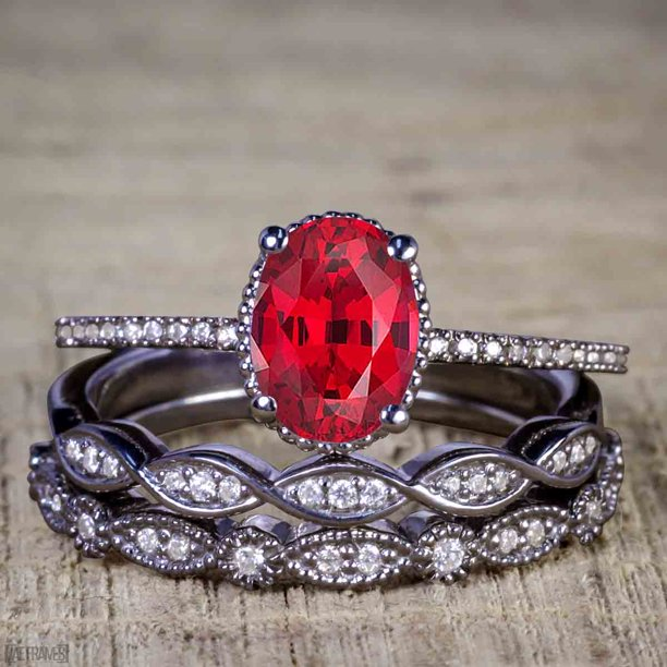 Bestselling 1.50 Carat Oval cut Real Ruby and Cubic Trio Wedding Ring Set in Silver with Black Gold Plating
