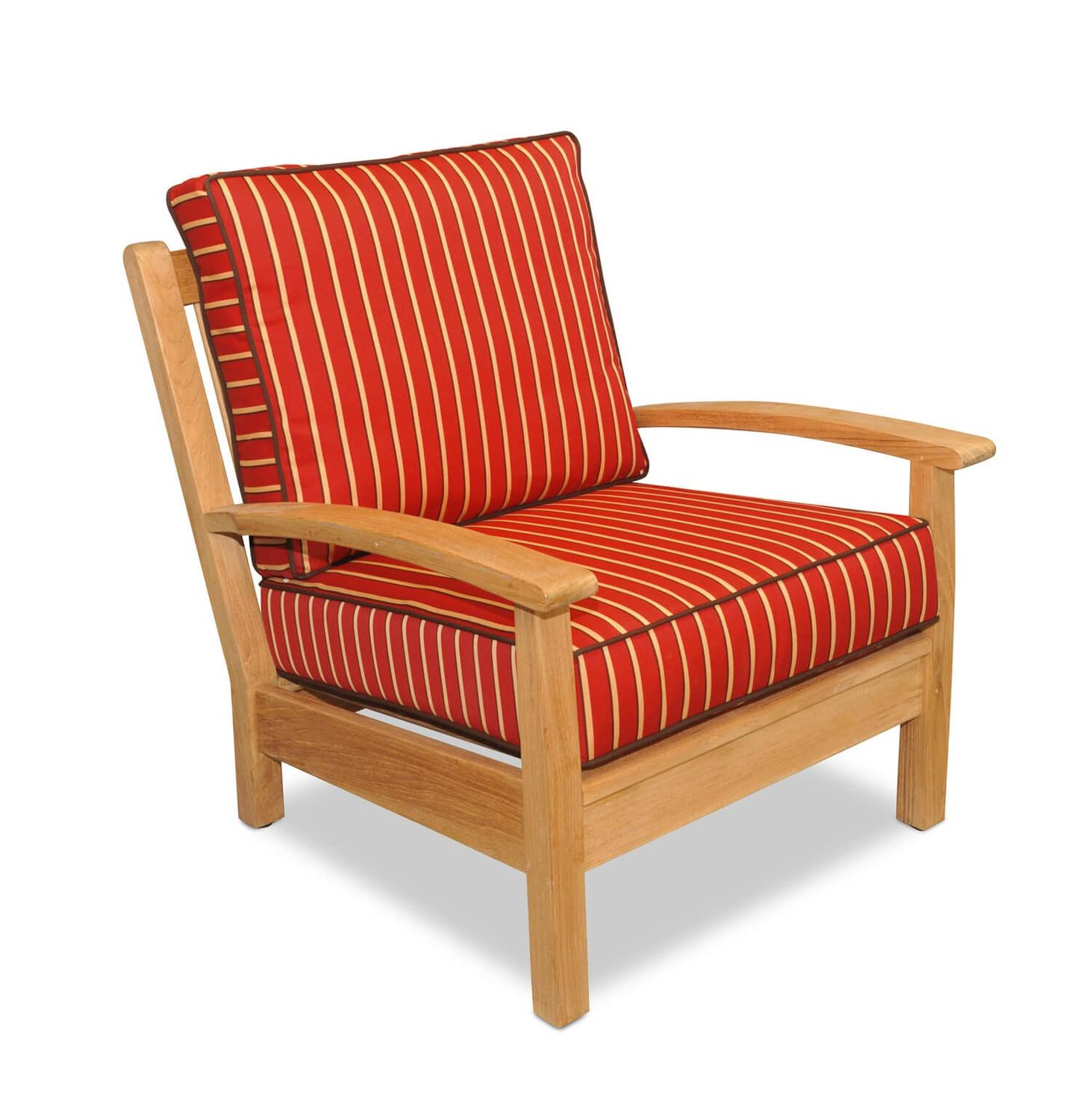 "34"" Natural Teak Deep Seating Outdoor Patio Lounge Chair with Crimson Striped Cushions"