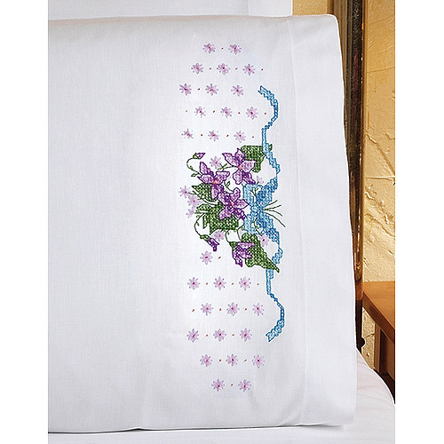 "Violets Pillowcase Pair Stamped Cross Stitch, 20"" x 30"""