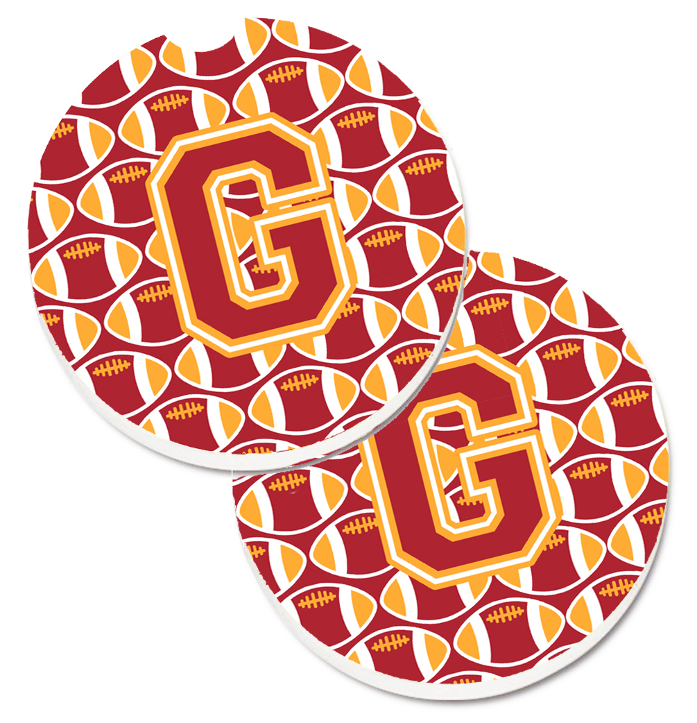 Letter G Football Cardinal and Gold Set of 2 Cup Holder Car Coasters CJ1070-GCARC