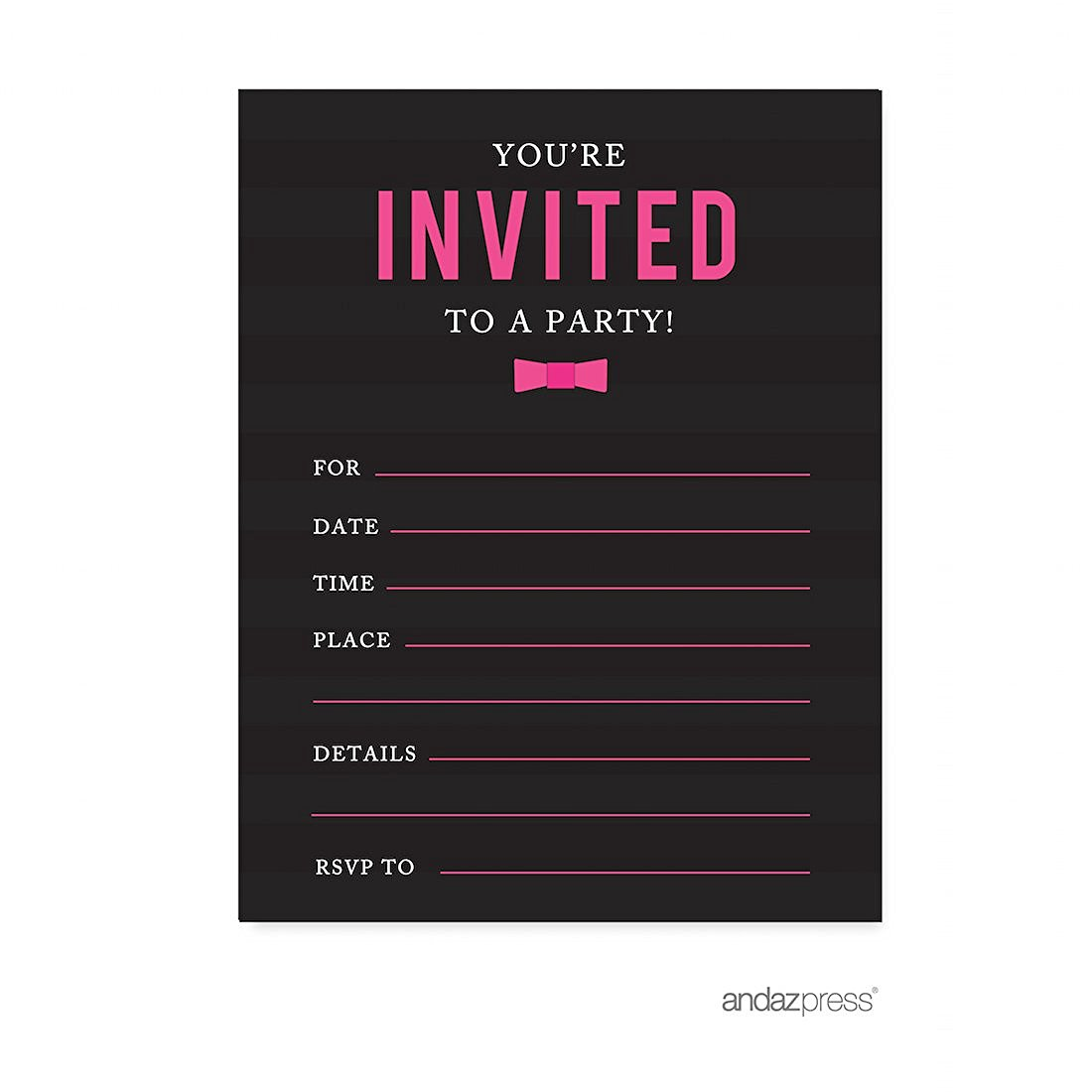 Modern Black And White Stripes Wedding Blank Party Invitations With