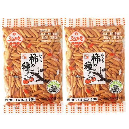 Japanese Traditional Rice Crackers : Nori Maki Arare/  2packs ( Wasabi) Kaki No Tane - Small 4.5oz (Stall Snack)