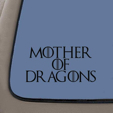 Mother Of Dragons Decal | House Targaryen Decal | 5.5-Inches Wide | Black Vinyl Decal | Car Truck Van SUV Laptop Macbook Wall Decals